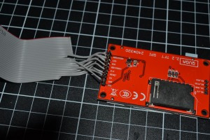 26 way ribbon cable cut and soldered to the TFT